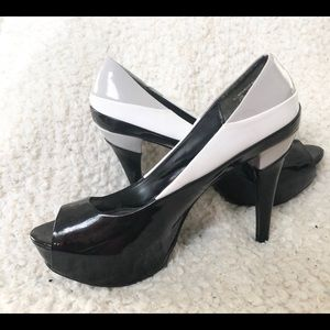 Velvet Heart patent leather peep toe heels 7.5